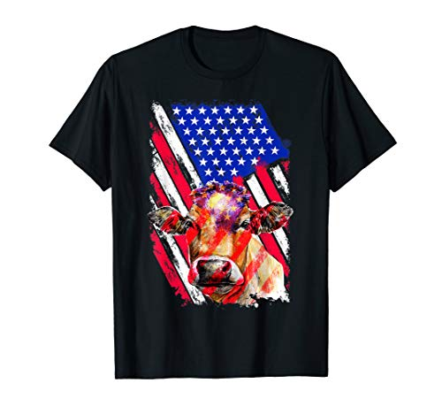 Tattoos American Flag Cow, Farmer, Farming, Cows, Dairy Cow T-Shirt]()