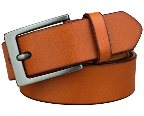 Bullko Mens Casual Genuine Leather Dress Belt Jeans Fashion Orange 38-40inch