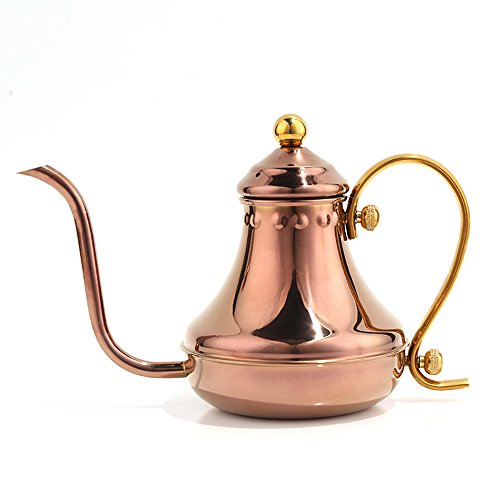 Pour Over Coffee Pot Drip Kettle - Stovetop Kettle Made of Premium Stainless Steel Gooseneck Swan Neck Design Tea Kettle , 430ml (Rose Gold) ()
