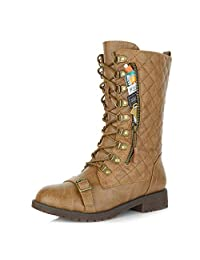 DailyShoes Women's Lace up Buckle Combat Mid Ankle Pocket Buckle Strap Boots