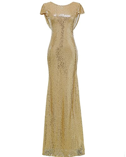 SOLOVEDRESS Women's Mermaid Sequined Long Evening Dress Formal Prom Gown Bridesmaid Dresses (US 4, Gold)