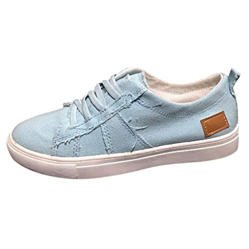 Canvas Sneakers for Women,SMALLE◕‿◕ Women Sport Shoes Soft Flat Sneakers Lace-Up Low Top Shoes Blue