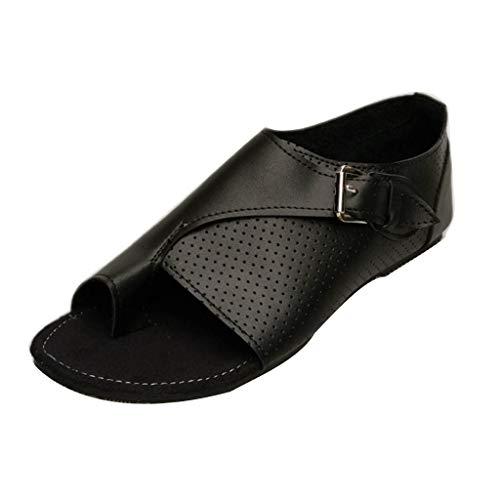 AIMTOPPY Women Cortex Flat-Bottomed Roman Sandals Open Ankle Flat Straps Platform Wedges Shoes (US:8.5, Black)