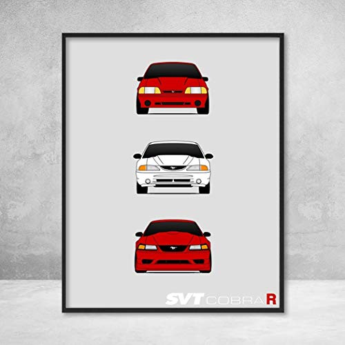 Ford Mustang SVT Cobra R Generations History and Evolution Poster Print Wall Art Decor Handmade