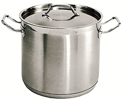 New Professional 32 Qt. 18/8 Stainless Steel Stock Pot, Induction Ready 3-Ply Clad Base, with cover Lid *NSF* Commercial Grade