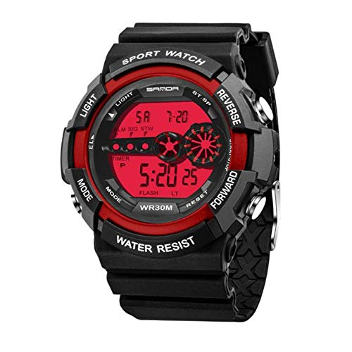 Mens Quartz Watch On Sale Clearance,Jamiacy LED Digital Date Alarm Analog Business Casual Fashion Wristwatch Round Dial Stainless Steel Case Rubber Band Watches W010