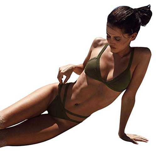 Covermason Mujer Push-Up Acolchado Bra Bikini Banda Playa Traje de baño Conjunto A