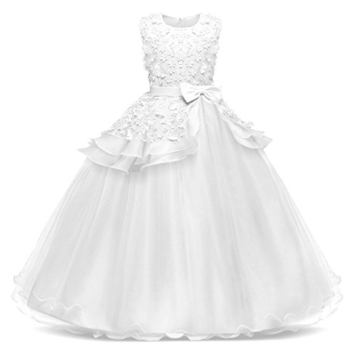 Jurebecia Girls Floor Length Princess Dresses Kids Sleeveless Wedding Party Prom Ball Gowns Dress White Size 8 ()