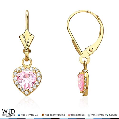 Gold Dangle Earring 14k Heart - 1Ct Diamond & Pink Tourmaline Heart Dangle Leverback Earrings 14K Yellow Gold 1