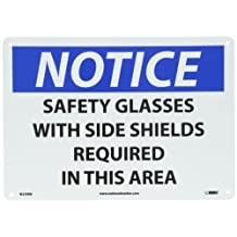 """NMC N339RB OSHA Sign, Legend """"NOTICE - SAFETY GLASSES WITH SIDE SHIELDS REQUIRED IN THIS AREA"""", 14"""" Length x 10"""" Height, Rigid Plastic, Black/Blue on White"""