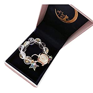 Women Charm Watches with Crystal Charm Beaded Bracelets Gift Box for Birthday Anniversary Valentine Jewelry