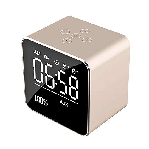 - Alarm Clock for Bedrooms,MeiLiio Bluetooth Wireless Speaker with LED Clock FM Radio Lightweight Big Sound Super Bass Speaker TF Card Stereo Subwoofer Music Player for Home Office,Rose Gold