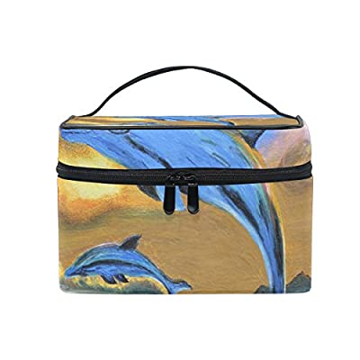 OREZI Large Multifuncation Cosmetic Bag Makeup Travel Toiletry Travel Kit Organizer Case with Quality Zipper Portable Dolphin Sea Makeup Bag for Women low-cost