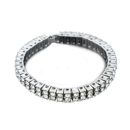 Angelcrab Punk Hip Hop Round Cut 2 Rows 8mm Cubic Zirconia Tennis Bracelet, 8'' (Silver) by Angelcrab