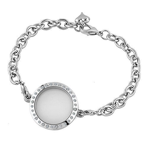 Q&Locket New 30mm Fashion Round Shaped Clear Crystal Floating Charms Living Memory Locket Chain Bracelet