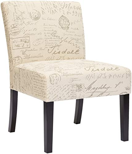 Red Hook Giada Contemporary Fabric-Upholstered Armless Accent Chair, Script-Style Print