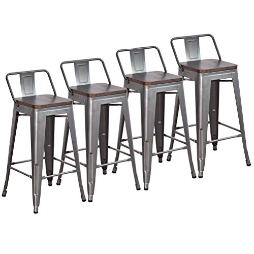 DeKea 26 Inch Bar Stools Counter Height with Wooden Top Seat Metal Stool [Set of 4] for Kitchen or Indoor/Outdoor Barstools, Low Back Gunmetal