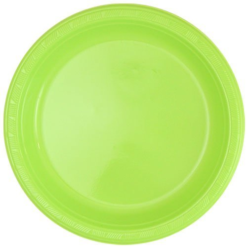 Hanna K. Signature Collection 50 Count Plastic Plate, 10-Inch, Lime Green