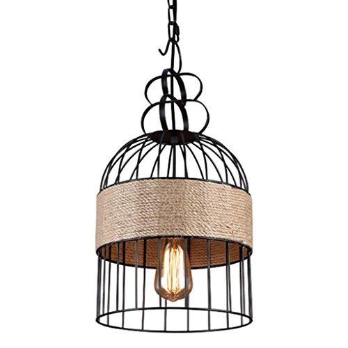 XQY Living Room Chandelier, Bar Restaurant Decoration,Illuminated Creative Personality Iron Hemp Rope Chandelier Loft Retro Restaurant Chandelier Industrial Styles Cafe Bar Birdcage Lighting Hanging