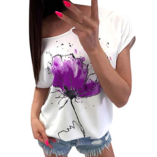 FORUU T Shirts For Womens, Ladies Casual Floral Printed Short Sleeve Loose Tops Shirts Tees Blouses Bridesmaid Wedding 1920s 1950 Newest Arrivals Trendy Stylish Elegant Cute On Sales -