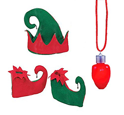 Red And Green Jingle Bell Elf Costume Set, Elf Hat, Elf Shoes, & Led Light Up Christmas Bulb Necklace By Neliblu (4 Piece Set)