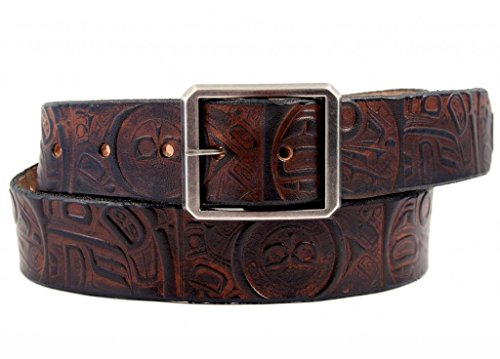 Buckle Dark Chocolate (Marakesh Leather Women's Handmade Raven Leather Belt with Brass Buckle 38 Dark)