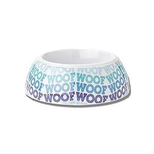 """PetRageous 1 Cup Woof Waves Non-Skid Melamine Bowl, 4"""" x 2"""", Blue/Multicolor 45"""