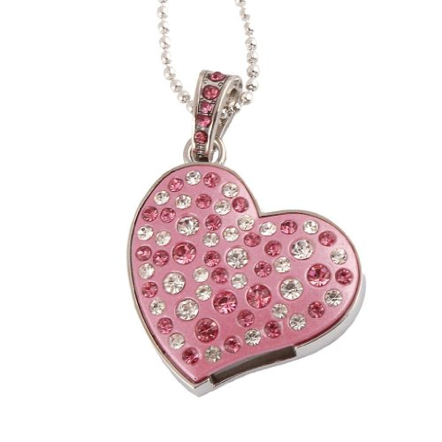 WooTeck 8GB Rhinestone Metal Applanate Heart USB Flash Drive, Fashion Jewelry Bling Shiny Crystal Diamond pendant,with - Bling Flash Drive
