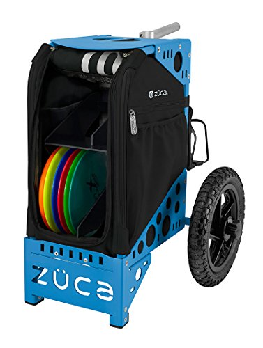 ZÜCA DELUXE DISC GOLF CART ONYX/BLUE with Rack and Black Accessory Pouch by ZÜCA