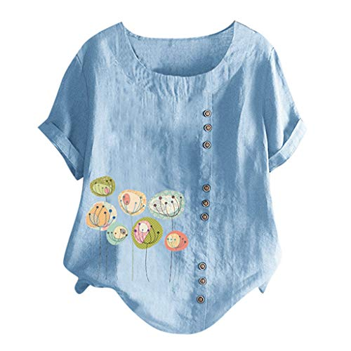 Sunhusing Ladies Cute Cartoon Fish Print Single-Breasted Solid Color Round Neck Short-Sleeve Tops T-Shirt
