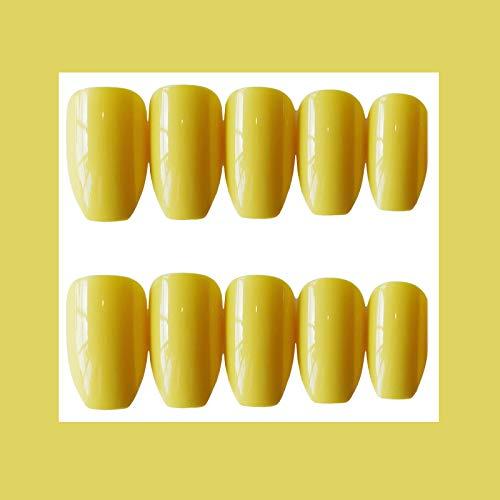 MISUD Colorful Ballerina Fake Nails Acrylic Full Cover Medium Beauty Gel Artificial False Nails Press on Nails Art Tips Sets (Yellow) ()