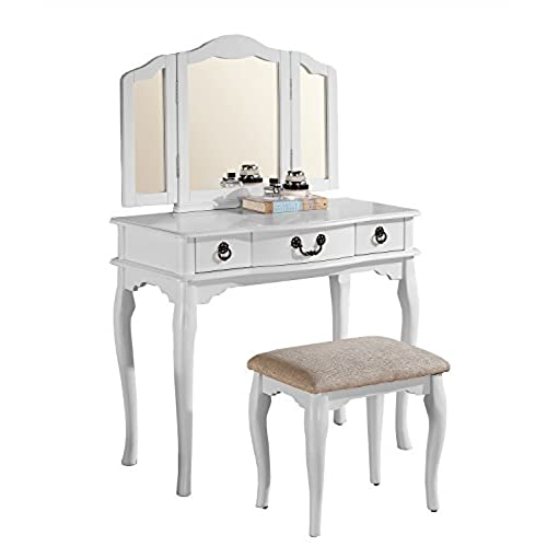 Poundex Bobkona Susana Tri-fold Mirror Vanity Table with Stool Set, White - Antique Vanity Sets: Amazon.com