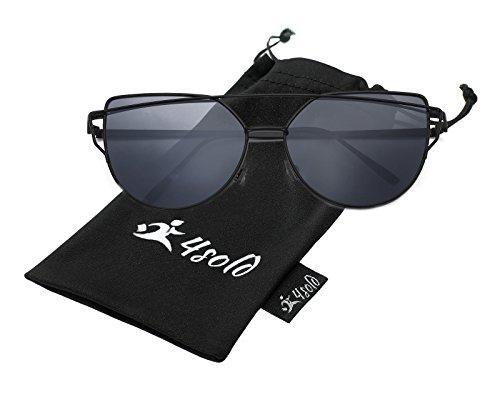 Femmes Soleil Fashion 4sold Uv400 Black De Et Cateye Modernes Réfléchissantes Pour Lunettes 1vBaCawqnf