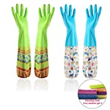 Household Rubber Cleaning Gloves Kitchen Dishwashing Glove 2-Pairs And Cleaning cloth 2-Pack,Waterproof Reuseable. (Tight)