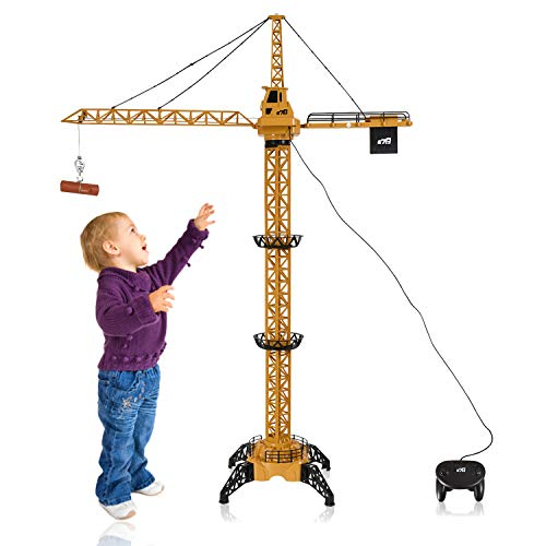 (WolVol 50 inch Tall Wired Remote Control Crawler Crane Toy for Boys, Log & Bucket Lift Up Construction Activity Playset, with Working Tower Light - Adjustable Height)