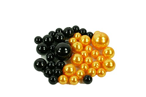 HALLOWEEN SET of Vase Fillers 84 Assorted Pearls Beads - Unique Decorative Gems Wholesale (BLACK - ORANGE) ()