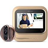Worlds Smartest Video Doorbell - Eques VEIU Rechargeable Door Camera Peephole Viewer for Your Home Security - WIFI Enabled - Night Vision - Large LED Touch Screen - iOS & Android (Copper)