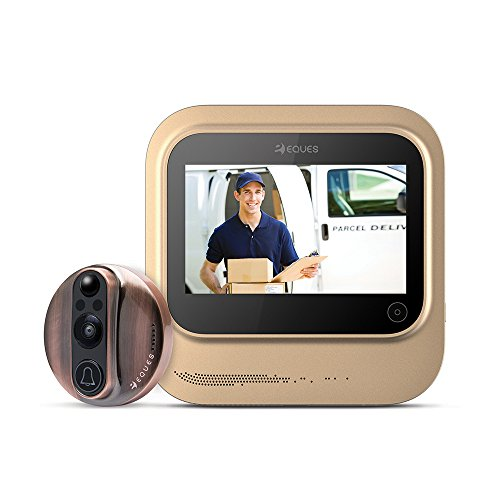 World's Smartest Video Doorbell - Eques VEIU Rechargeable Door Camera Peephole Viewer for Your Home Security - WIFI Enabled - Night Vision - Large LED Touch Screen - iOS & Android (Copper) -  EQR26