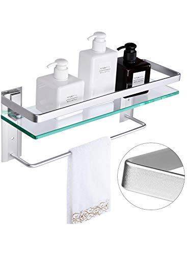 Vdomus Tempered Glass Bathroom Shelf with Towel Bar Wall Mounted Shower storage15.2 by 4.5 inches, Brushed Silver Finish (1 Tier Glass Shelf) ()