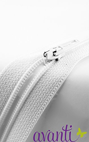 (Polyester 18 inch Zipper, Plastic and Polyester Zipper, White, 25 Pack)