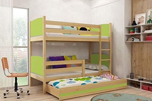 A = ApfelGrün Liegefläche 160 x 80 cm BMS Etagenbett Max mit Gästebett - Kiefer Größe Liegefläche 160 x 80 cm, Farbe A = apfelgrün
