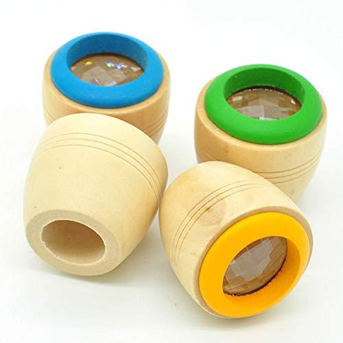 Beauy Girl 4PCS Magic Kaleidoscopes Bee Eye Effect Kaleidoscopes Wooden Kids Toy for Children Festival Gift