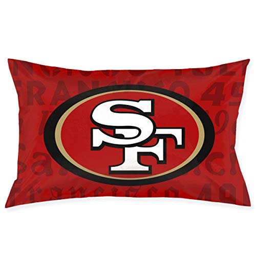 tangular Pillowcase Colorful San Francisco 49ers American Football Team Bedding Pillow Covers Pillow Cases for Home Couch Sofa Bedding Decorative - 20x30 Inches ()