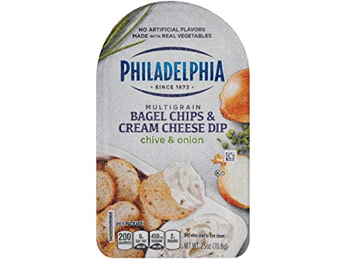 Philadelphia Chive Onion Bagel Chips and Cream Cheese Dip, 2.5 Ounce -- 10 per case.