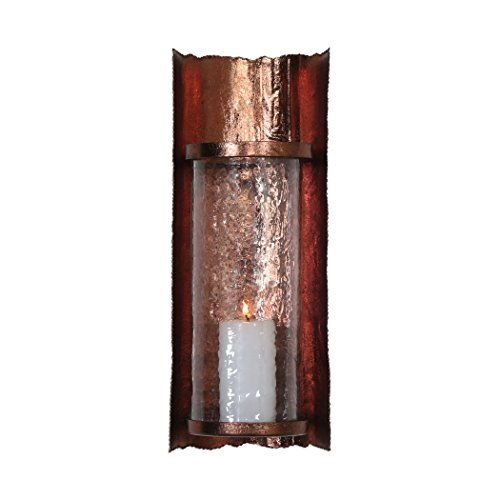 (MY SWANKY HOME Rustic Vintage Antique Style Wall Candle Sconce | Copper Finish Metal Primitive)