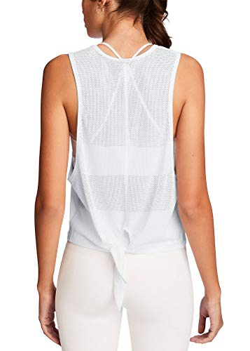 Mippo Women's Acitvewear Tops High Neck Racerback Crop Tank Top Mesh Back Muscle Tank for Women Summer Yoga Shirts Soft Big Armhole White Workout Tank Tops for Women White XL