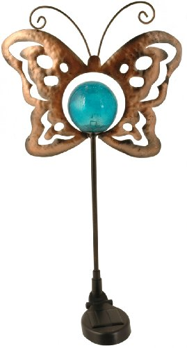 Moonrays 91437 Solar Powered Metal/Glass Butterfly Light Fixture