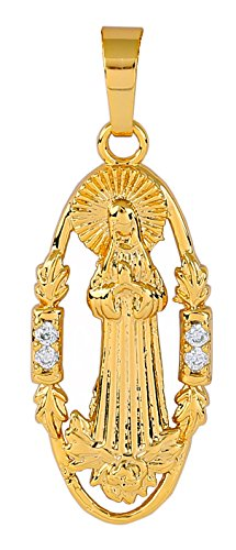 YYA Virgin Mary Necklace for Women 18K Gold Miraculous Medal Religious Pendant for Men 18k Religious Medal