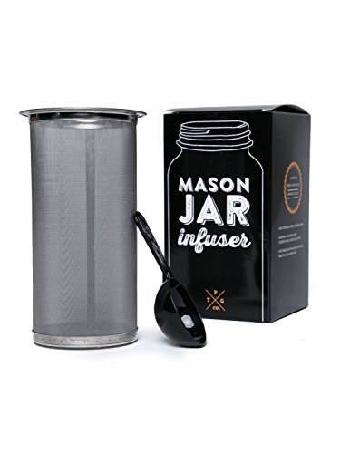 Mason Jar Infuser Cloth Fits All Wide Mouth Jar - Cold Brew Coffee Tea Maker At Home - Free Spoon - 150 Micron Plexus - 304 Stainless