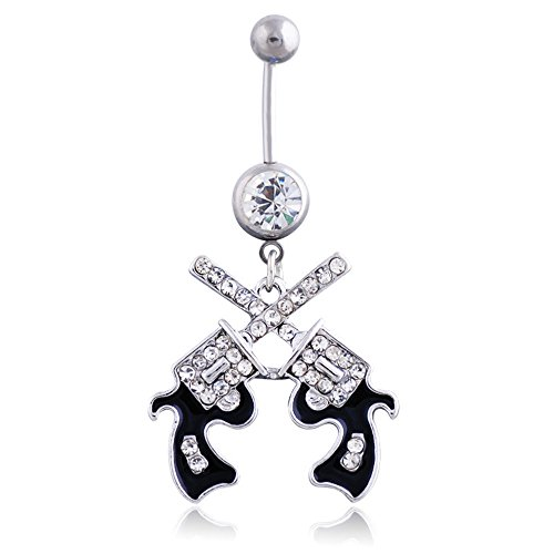 Himerus Exquisite Body Jewelry 316L Surgical Steel West Cowgirl 2 Cross Pistol Guns Belly Button Ring Navel Ring (White)